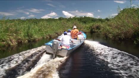 Ein-Touristisches-Motorboot-Fährt-Durch-Ein-Feuchtgebiet-Flussgebiet
