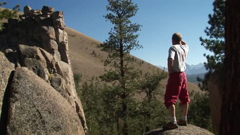 A-man-steps-up-onto-a-boulder-and-looks-into-the-distance