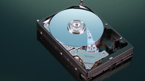 A-closeup-zoom-image-of-a-hard-drive-for-a-computer-is-displayed