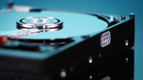 A-hard-drive-without-its-cover-rotates-slowly