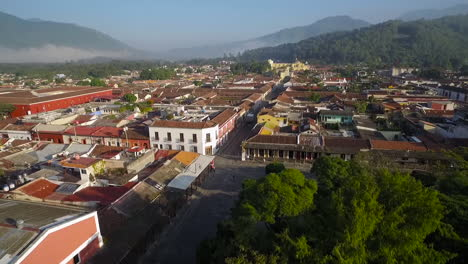 Beautiful-aerial-shot-over-the-colonial-Central-American-city-of-Antigua-Guatemala