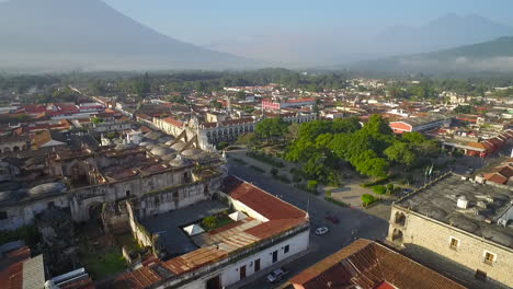 Beautiful-aerial-shot-over-the-colonial-Central-American-city-of-Antigua-Guatemala-2