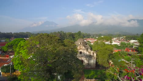 Beautiful-rising-aerial-shot-over-the-colonial-Central-American-city-of-Antigua-Guatemala
