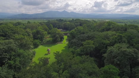 Great-aerial-shot-over-the-Tikal-pyramids-in-Guatemala