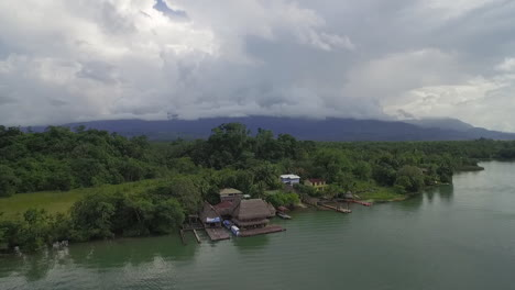 An-aerial-over-a-small-village-on-the-Rio-Dulce-River-in-Guatemala