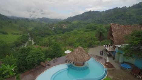 An-aerial-over-a-resort-or-home-on-the-Semuc-Champey-river-in-Guatemala