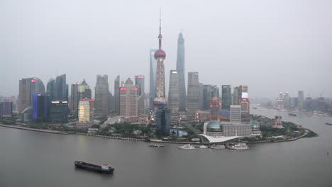 Establishing-shot-of-the-skyline-of-Shanghai-China-on-a-hazy-day