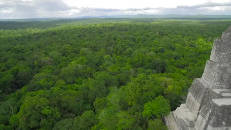 Spectacular-aerial-shot-over-the-treetops-and-Tikal-pyramids-in-Guatemala-3