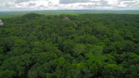 Spectacular-aerial-shot-over-the-treetops-and-Tikal-pyramids-in-Guatemala-5