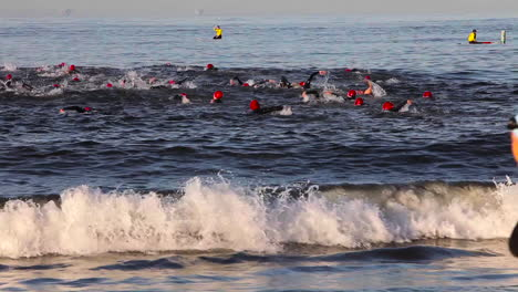 Triathlon-swimmers-swim-in-the-ocean