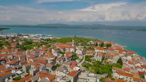 Aerial-over-a-coastal-village-in-Croatia-1