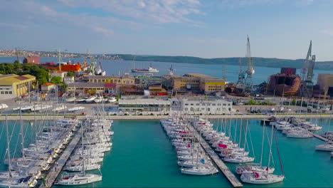 Aerial-over-a-coastal-fishing-village-in-Croatia-5