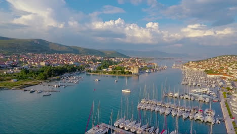 Aerial-over-a-port-and-coastal-fishing-village-in-Croatia