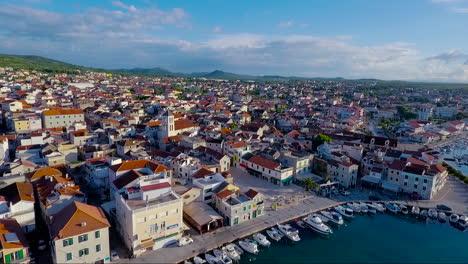 Aerial-over-a-large-coastal-village-in-Croatia