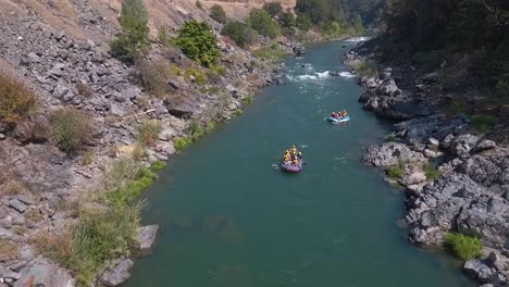 Aerial-drone-shot-of-white-water-rafting-on-a-beautiful-sunny-day-on-the-Trinity-River-in-Northern-California-1