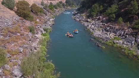 Aerial-drone-shot-of-white-water-rafting-on-a-beautiful-sunny-day-on-the-Trinity-River-in-Northern-California-2