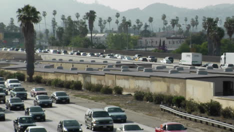 Traffic-moves-slowly-along-a-busy-freeway-in-Los-Angeles-8