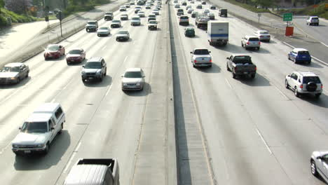 Traffic-moves-slowly-along-a-busy-freeway-in-Los-Angeles-18