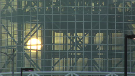 The-sun-shines-through-the-glass-windows-of-Staples-Center-Los-Angeles