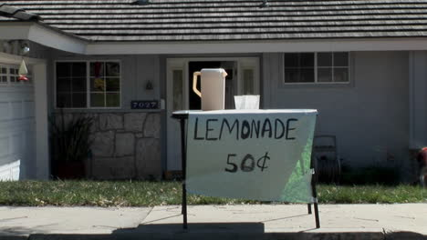 A-boy-offers-a-cup-at-a-lemonade-stand