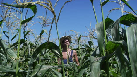 A-man-wearing-overalls-and-a-straw-hat-stands-in-a-corn-field