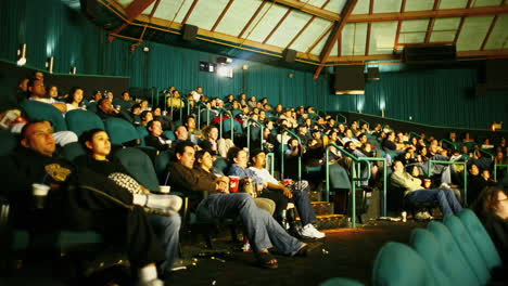 An-audience-watches-a-film-in-a-darkened-movie-theater
