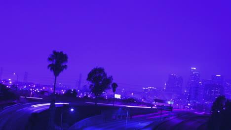 Excelente-Foto-De-Tráfico-Pesado-Conduciendo-En-Una-Concurrida-Autopista-En-Los-Ángeles-Por-La-Noche