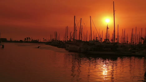 A-harbor-reflects-sunlight-during-the-golden-hour-in-time-lapse-1