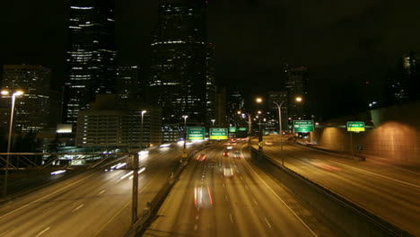 A-beautiful-shot-of-time-lapsed-freeway-traffic-in-a-downtown-area-1