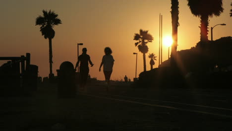 Pedestrians-move-to-and-fro-on-a-silhouetted-beach-front-in-time-lapse