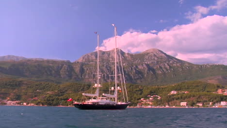 A-boat-is-at-anchor-beside-a-beautiful-island