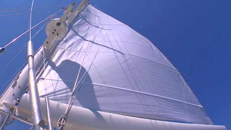 A-sail-blows-in-the-wind-on-a-sailboat