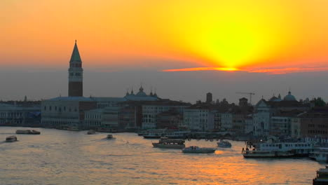 Beautiful-Arial-silhouetted-view-of-a-sunset-of-Venice-Italy-