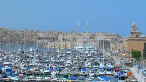 View-of-Maltas-old-city-scape-and-ships-in-the-harbor-Zoom-out