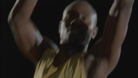 A-man-throws-a-basketball