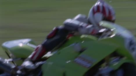 A-motorcyclist-speeds-around-a-racetrack