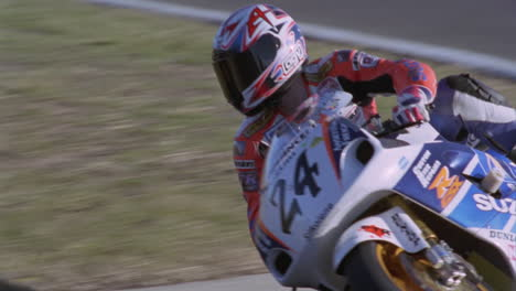 A-motorcyclist-makes-a-turn-on-a-track