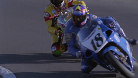 Motorcycles-compete-on-a-racing-track