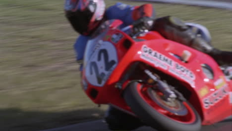 A-motorcycle-races-around-a-track