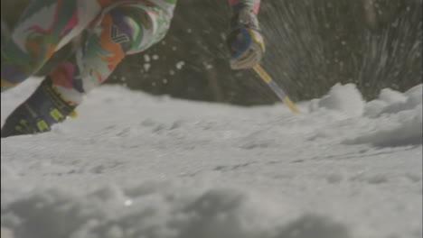 A-skier-navigates-a-down-hill-slalom