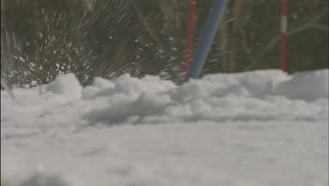 A-skier-navigates-a-down-hill-slalom-course