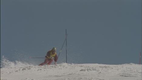 A-skier-skis-around-a-pole