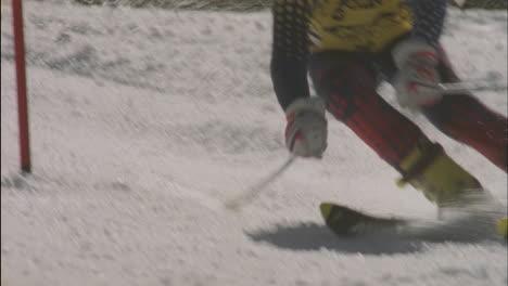 A-skier-cuts-around-a-downhill-slalom