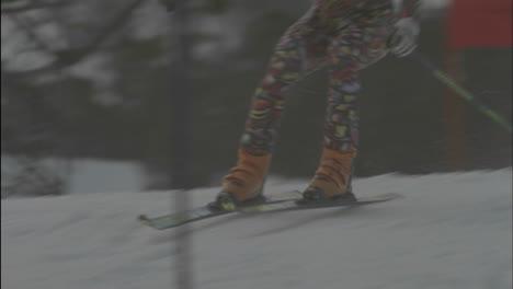 A-person-navigates-a-down-hill-slalom-course