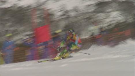 A-skier-navigates-through-a-slalom-course