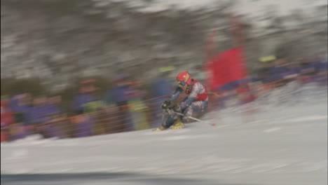 A-skier-races-down-hill-through-the-slalom