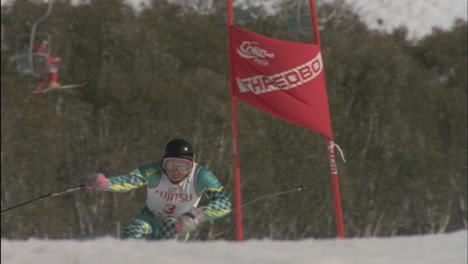 A-skier-takes-out-a-slalom-pole