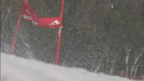 A-man-skies-around-a-slalom-pole