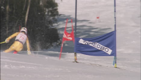 A-skier-races-down-a-slalom-course