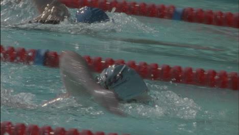 Los-Nadadores-Nadan-En-La-Piscina-Giran-Y-Nadan-De-Regreso-Los-Nadadores-Nadan-En-La-Piscina-Giran-Y-Nadan